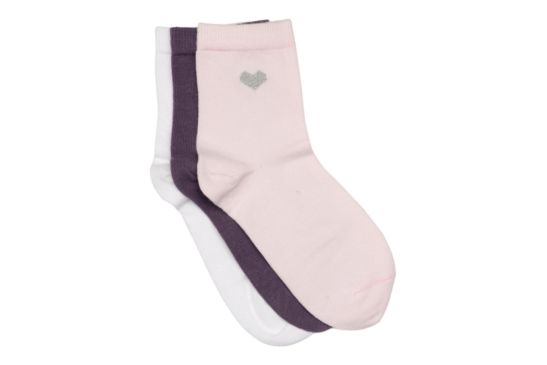 Chaussettes enfant Pack de 3 coton Mauve mure / ROSE PETITE FILLE / BLANC