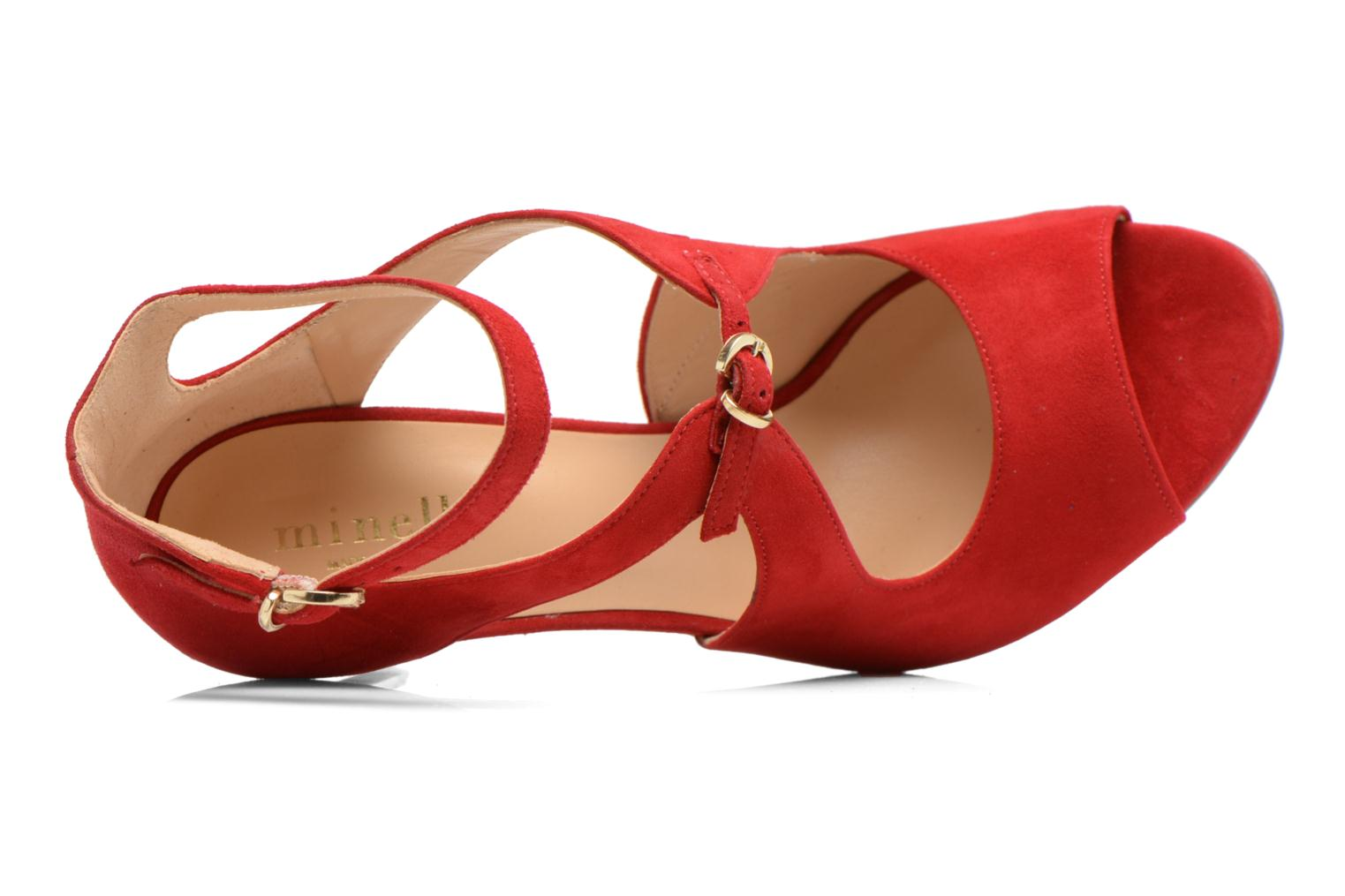 Sandals Minelli F93 652/VEL Red view from the left