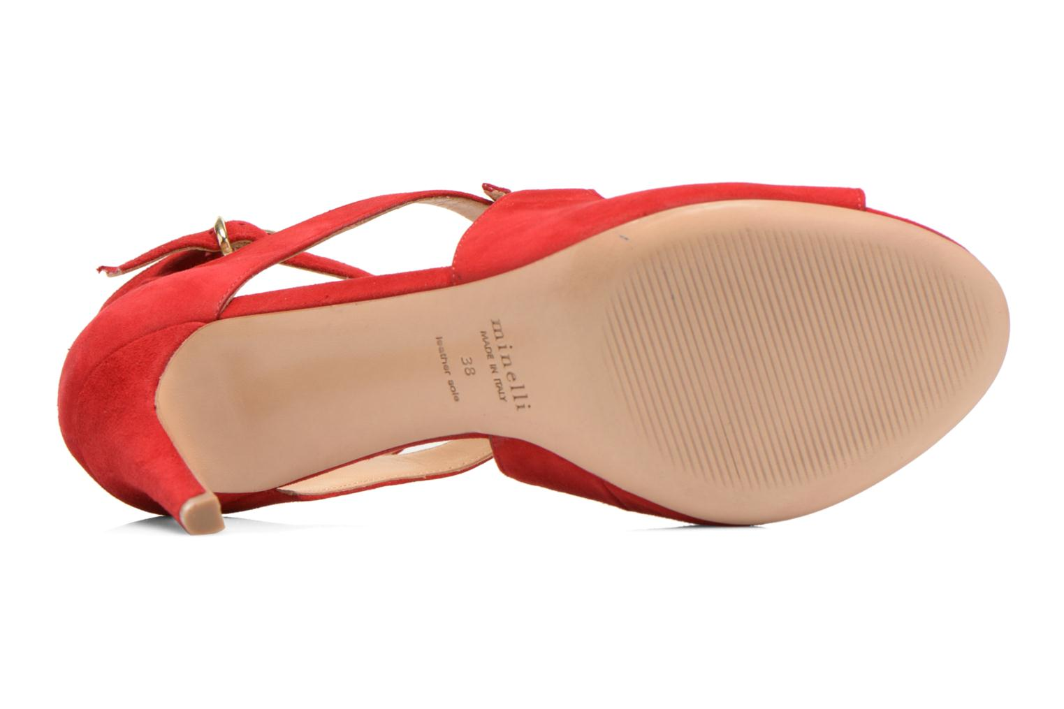 Sandals Minelli F93 652/VEL Red view from above