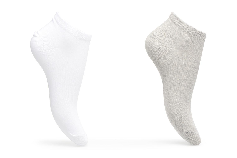 Chaussettes invisibles Femme unies Pack de 2 Coton Gris/blanc
