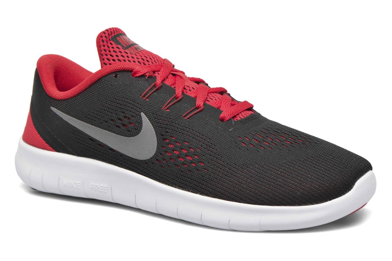 Nike Free Rn (Gs) Black/Metallic Silver-University Red