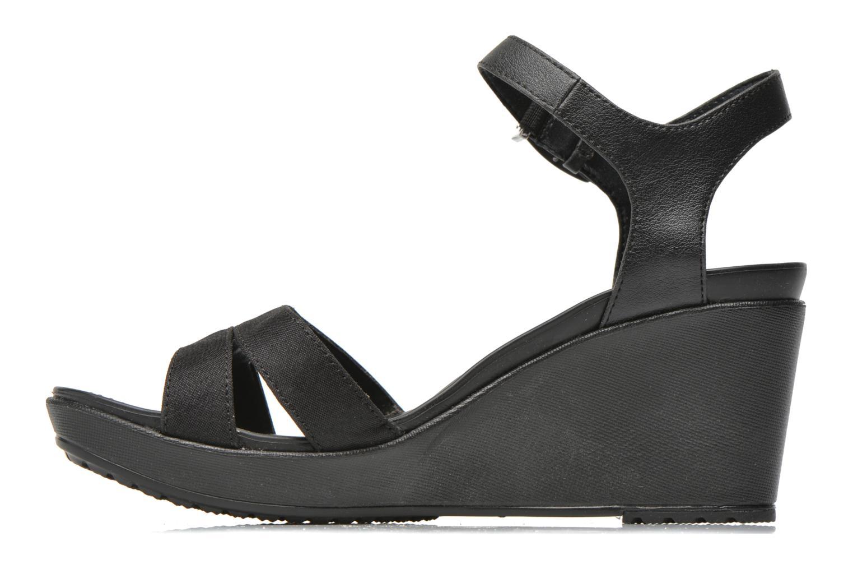 Sandales et nu-pieds Crocs Leigh II Ankle Strap Wedge W Noir vue face