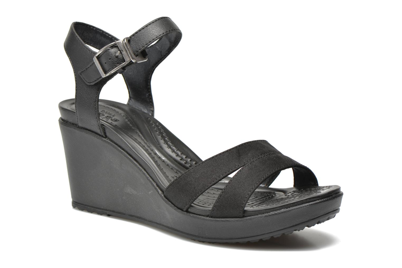 Sandales et nu-pieds Crocs Leigh II Ankle Strap Wedge W Noir vue détail/paire