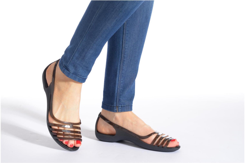 Sandales et nu-pieds Crocs Crocs Isabella Huarache Flat W Noir vue bas / vue portée sac