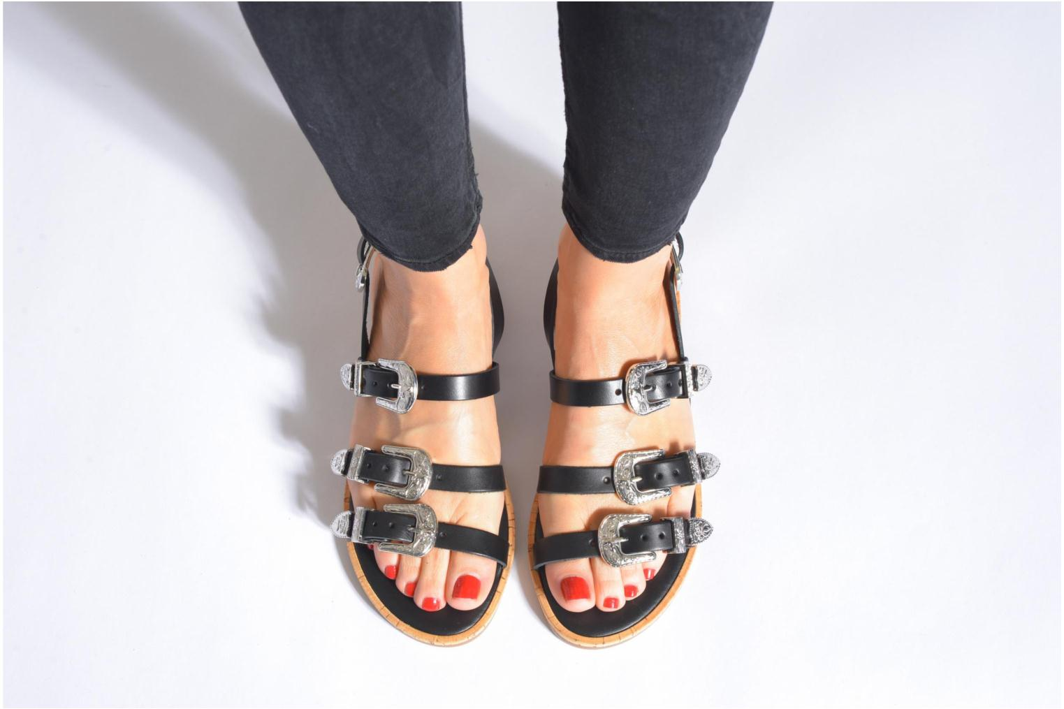 Sandals Made by SARENZA Tennessee Sister #5 Black view from underneath / model view