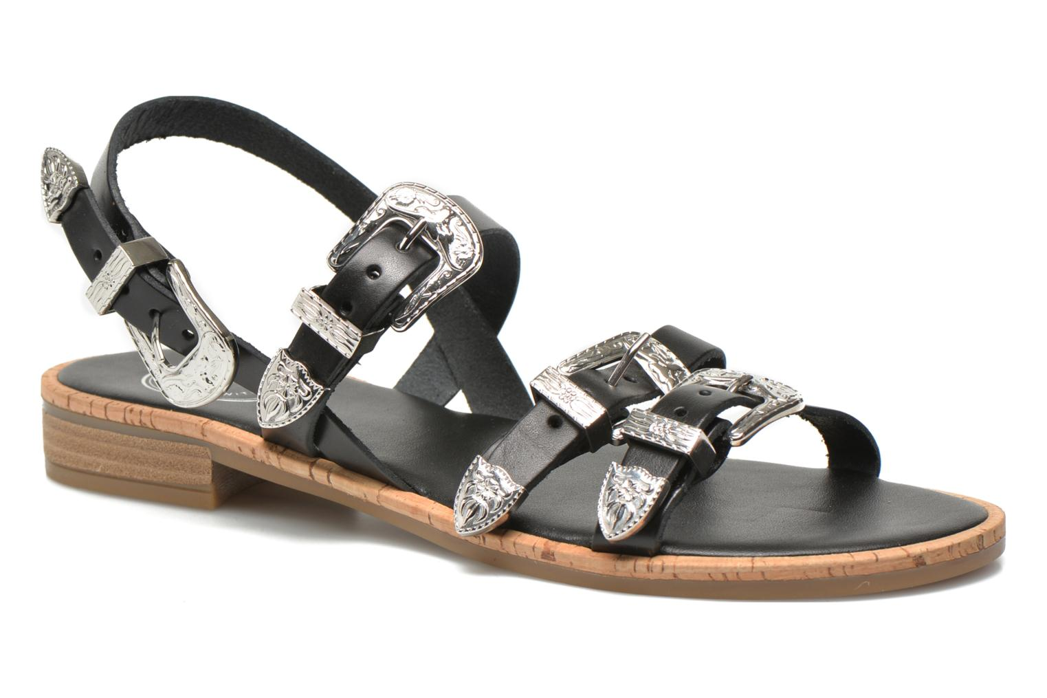 Sandals Made by SARENZA Tennessee Sister #5 Black front view