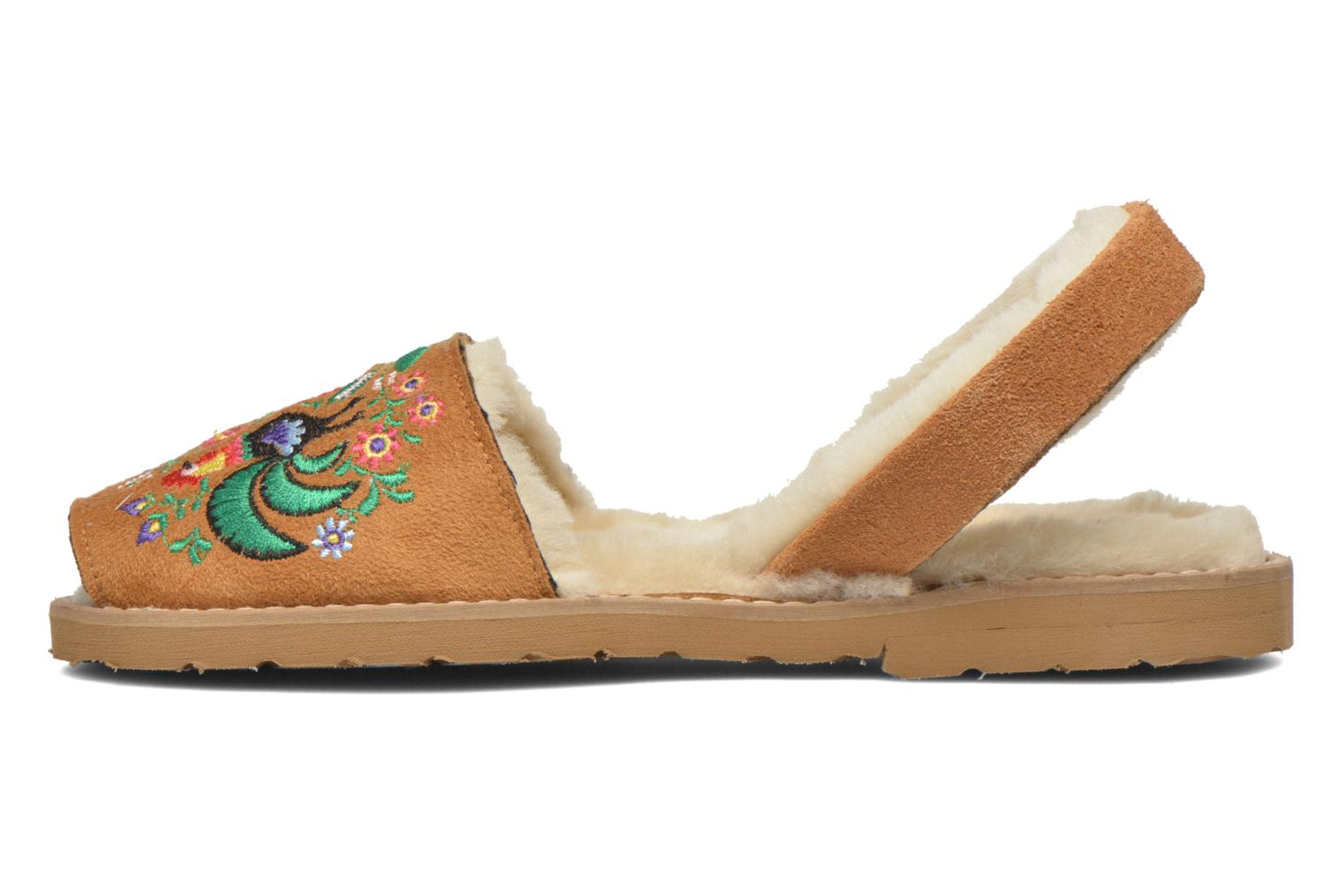 Sandals MINORQUINES Avarca Broderie Brown front view