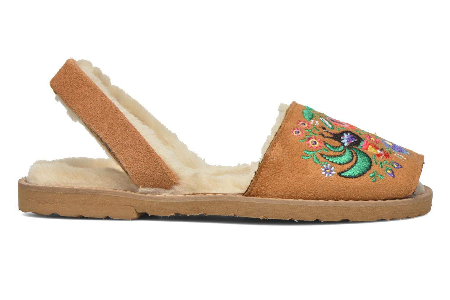 Sandals MINORQUINES Avarca Broderie Brown back view