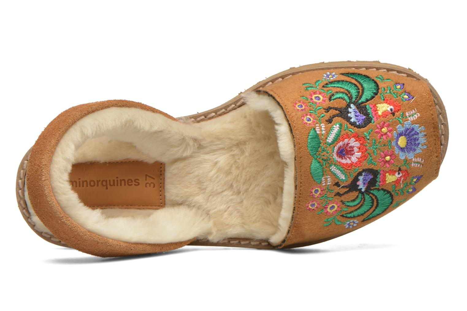 Sandals MINORQUINES Avarca Broderie Brown view from the left