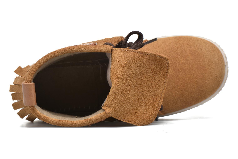 Sneakers Victoria Botin Flecos Serraje Marrone immagine sinistra