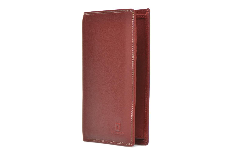 Marroquinería pequeña Le Tanneur TOURAINE Portefeuille poche zip 2 volets Rojo vista del modelo