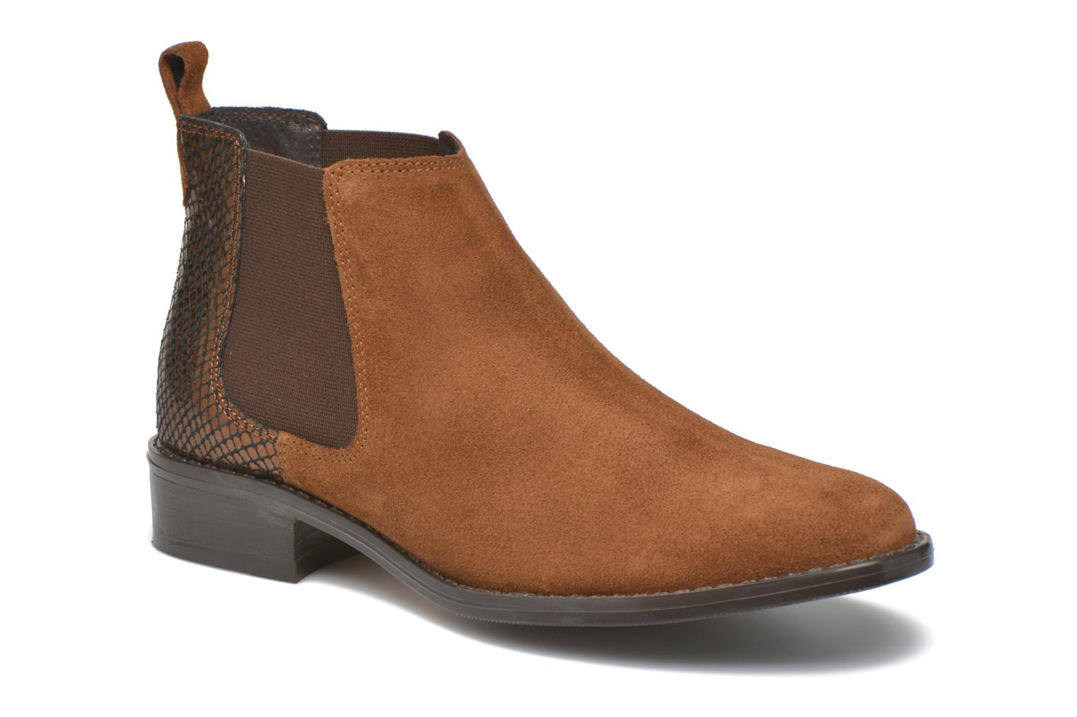 Ankle boots Georgia Rose Celadon Brown detailed view/ Pair view