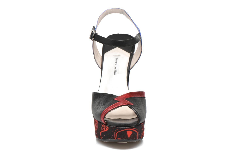 Sandales et nu-pieds Terry de Havilland IZZY PRINT Noir vue portées chaussures