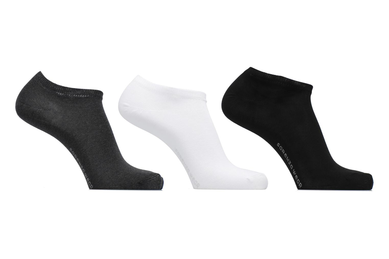 Chaussettes Homme Invisibles unies Pack de 3 Coton gris chiné  blanc  noir