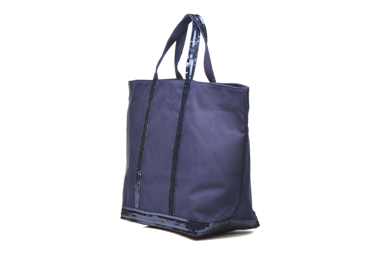 Handbags Vanessa Bruno Cabas paillettes toile Porté épaule M+ Blue model view