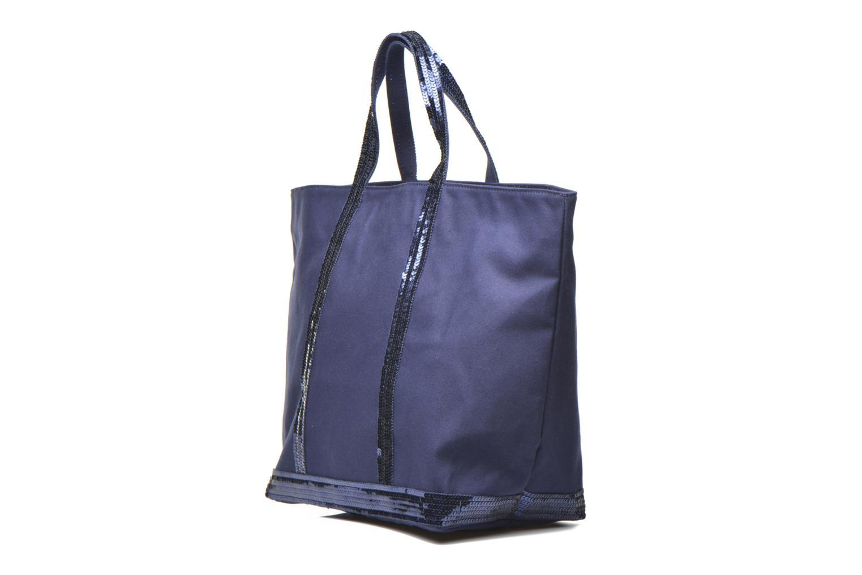 Handbags Vanessa Bruno Cabas paillettes toile Porté épaule M+ Blue view from the right