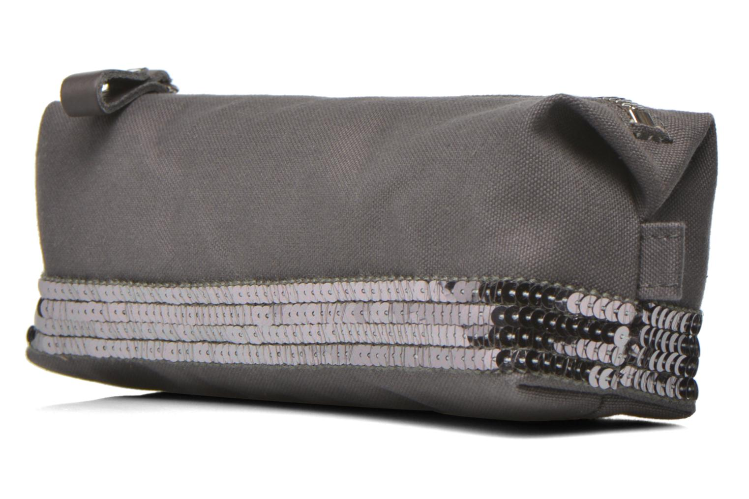 School bags Vanessa Bruno Trousse paillettes toile Grey view from the right