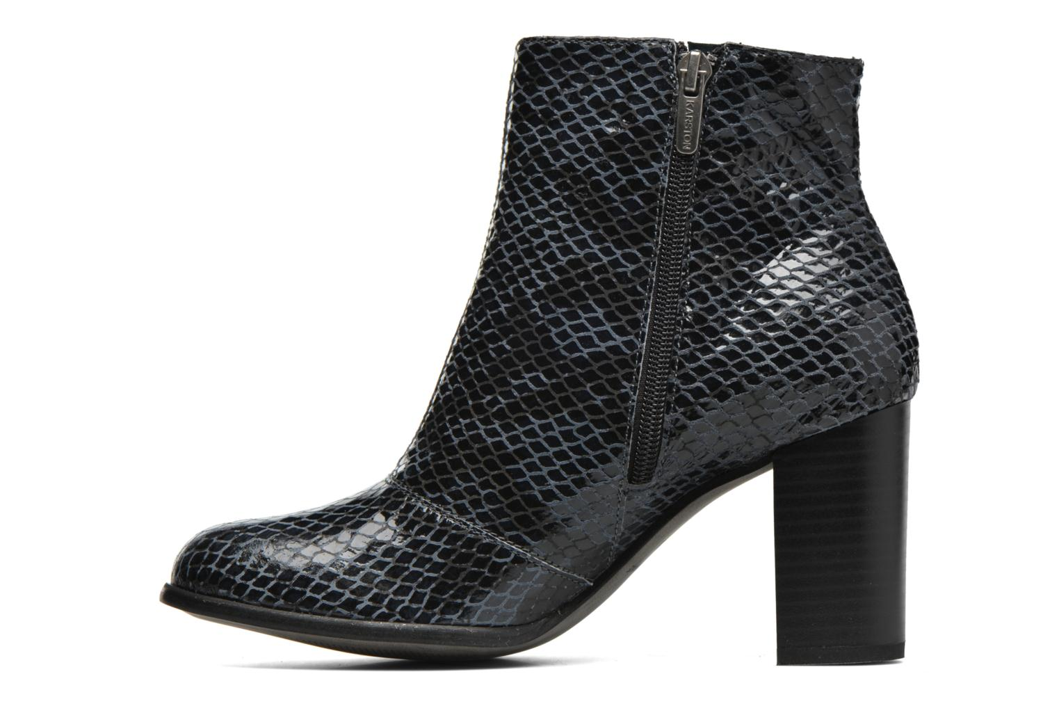 Ankle boots Karston GLAGOS #Cobra CARBONE ~Doubl & 1ere CUIR Black front view