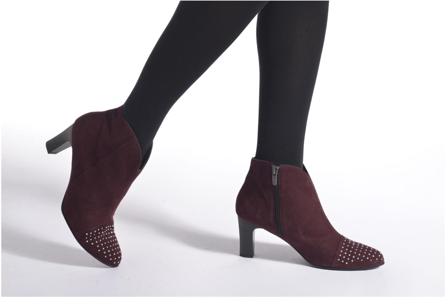 Ankle boots Karston IFLOU #Ch Velours PRUNE ~Doubl & 1ere CUIR Burgundy view from underneath / model view