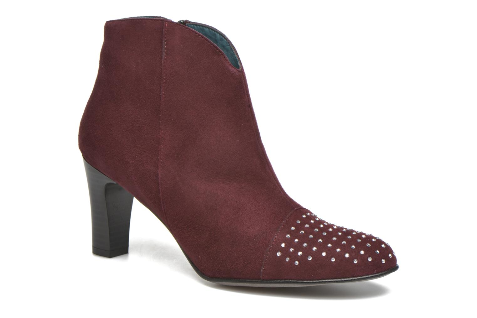 Ankle boots Karston IFLOU #Ch Velours PRUNE ~Doubl & 1ere CUIR Burgundy detailed view/ Pair view