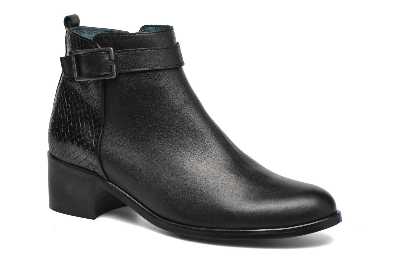 Ankle boots Karston GLELIN #Mult Vo Milled NOIR ~Doubl & 1ere CUIR Black detailed view/ Pair view