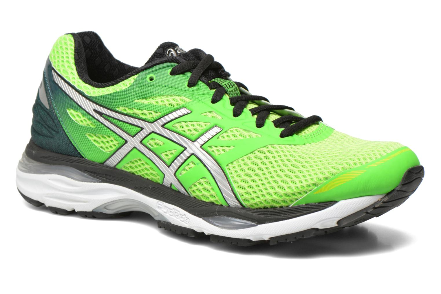 Sport shoes Asics Gel-Cumulus 18 Green detailed view/ Pair view