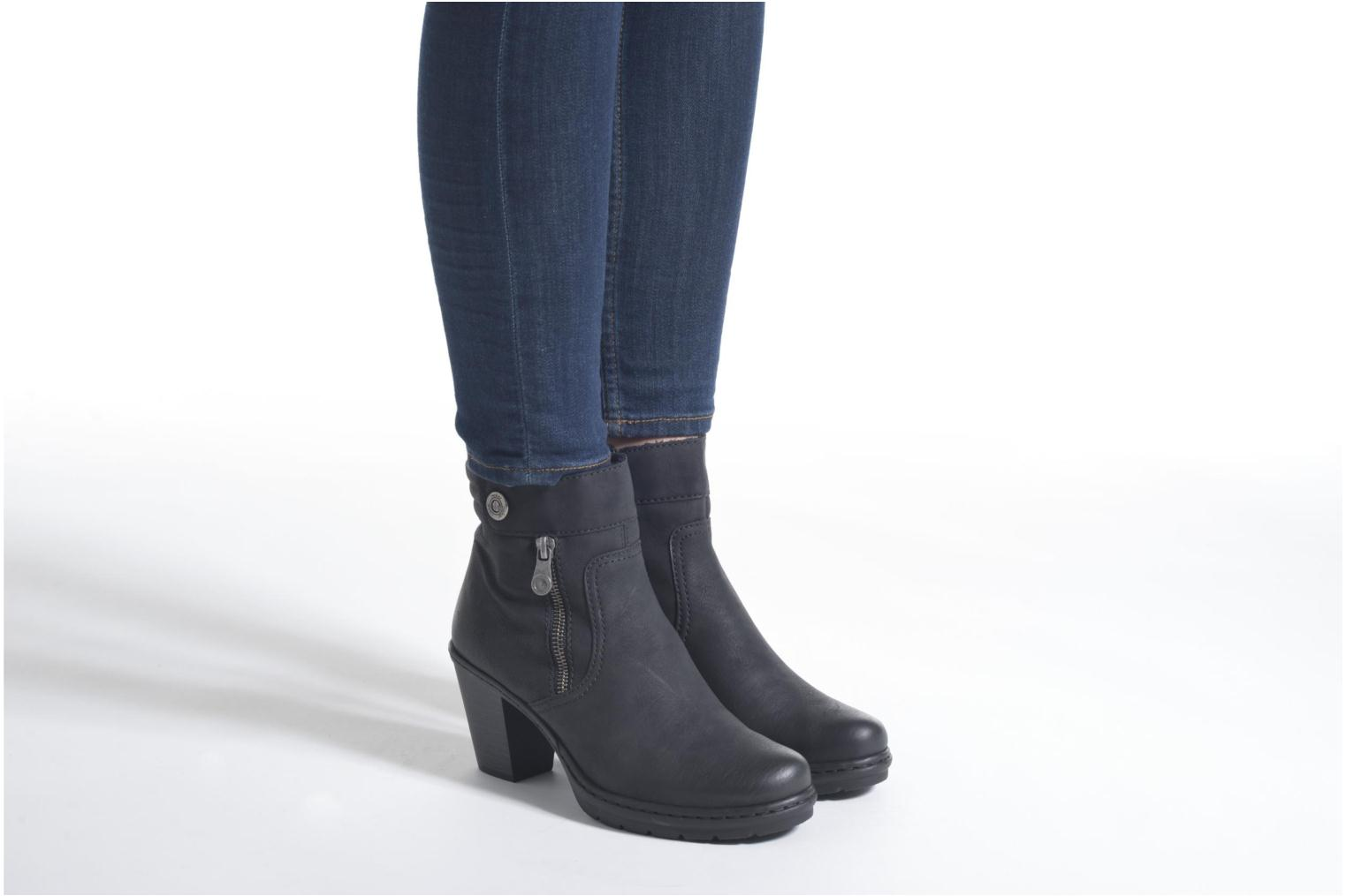 Ankle boots Rieker June Y1553 Black view from underneath / model view