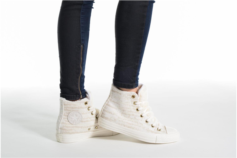 Baskets Converse Ctas Winter Knit/Fur Hi Beige vue bas / vue portée sac