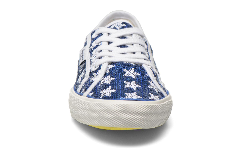 Baskets Pepe jeans Aberlady shiny stars Bleu vue portées chaussures