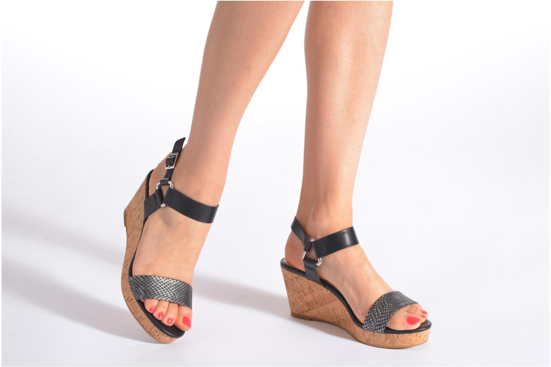 Sandales et nu-pieds Divine Factory Cotonilla Noir vue bas / vue portée sac