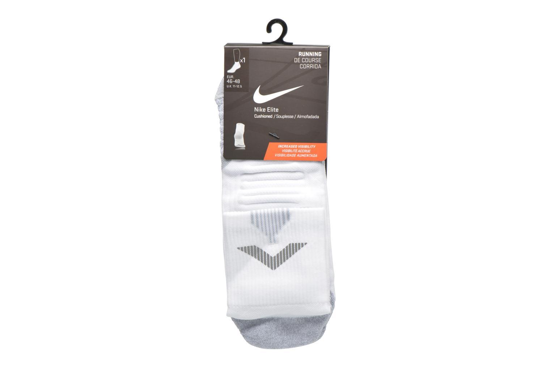 Chaussettes et collants Nike Nike Elite Cushion Quarter Running Sock Blanc vue derrière