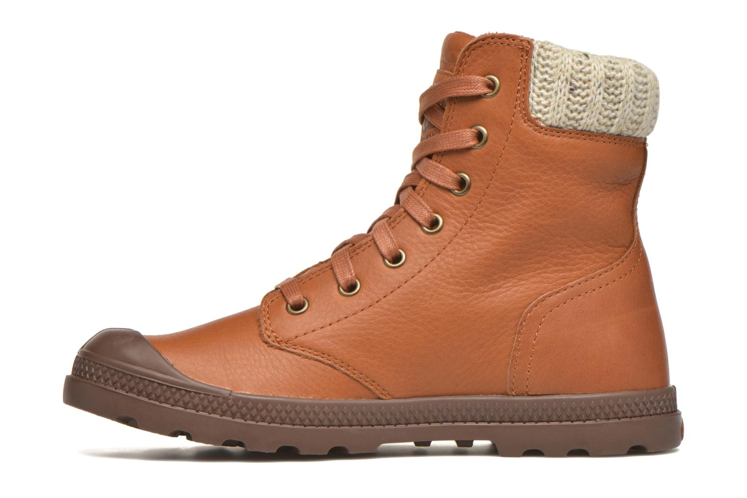 Bottines et boots Palladium Pampa Knit LP F Marron vue face