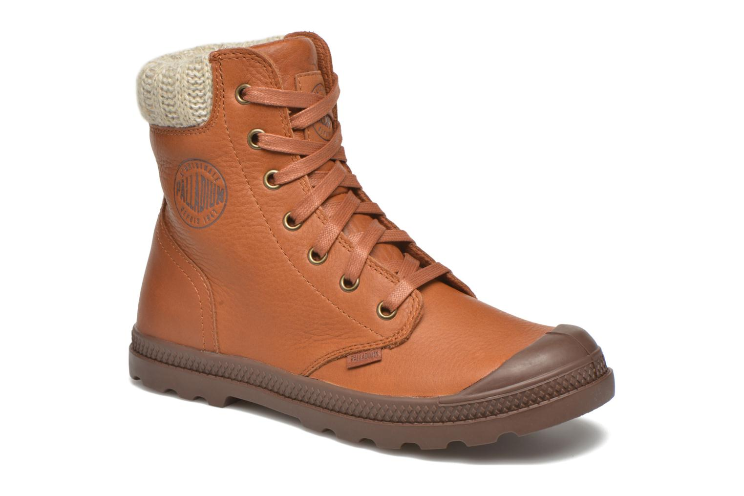 Bottines et boots Palladium Pampa Knit LP F Marron vue détail/paire