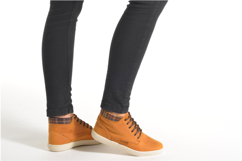 Sneakers Victoria Bota Piel Bombeada Cuello Marrone immagine dal basso