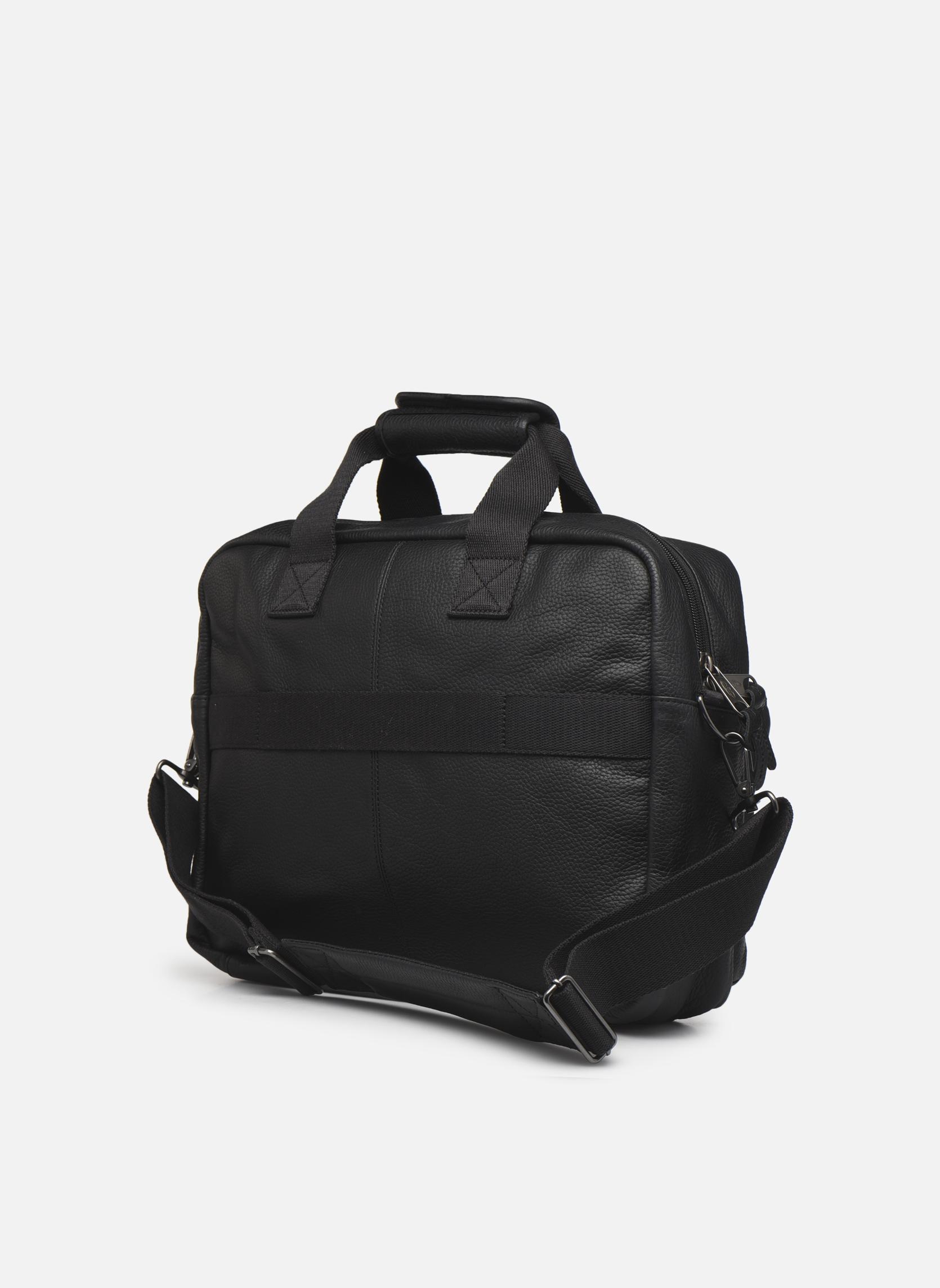 TOMEC Sacoche ordinateur cuir Black leather
