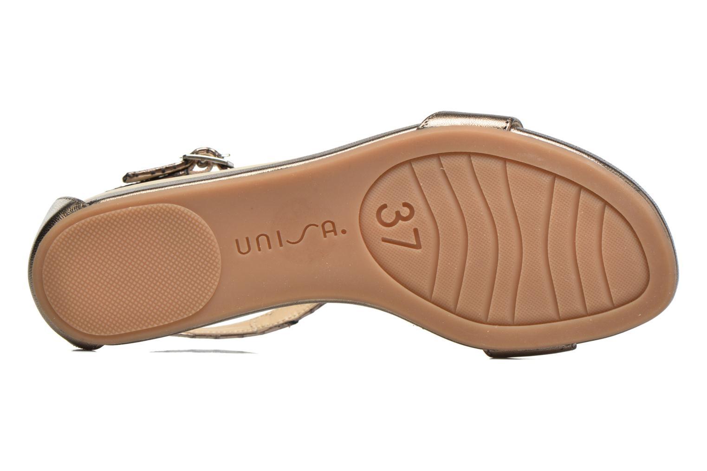 Sandales et nu-pieds Unisa Asunta Or et bronze vue haut
