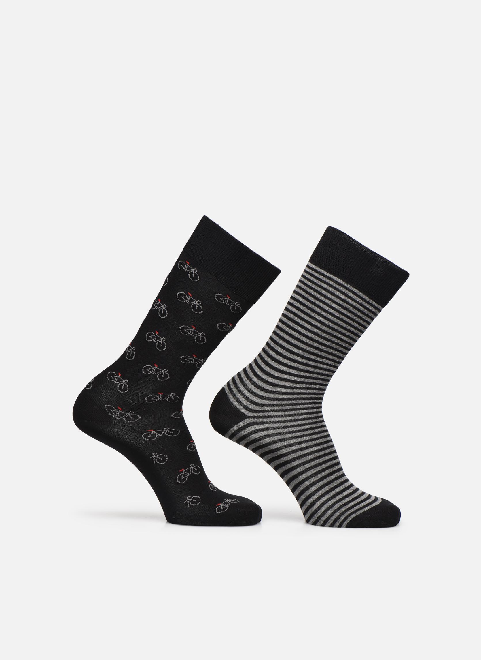 Sokken en panty's Sarenza Wear Chaussettes vélos Pack de 2 Homme coton Zwart detail