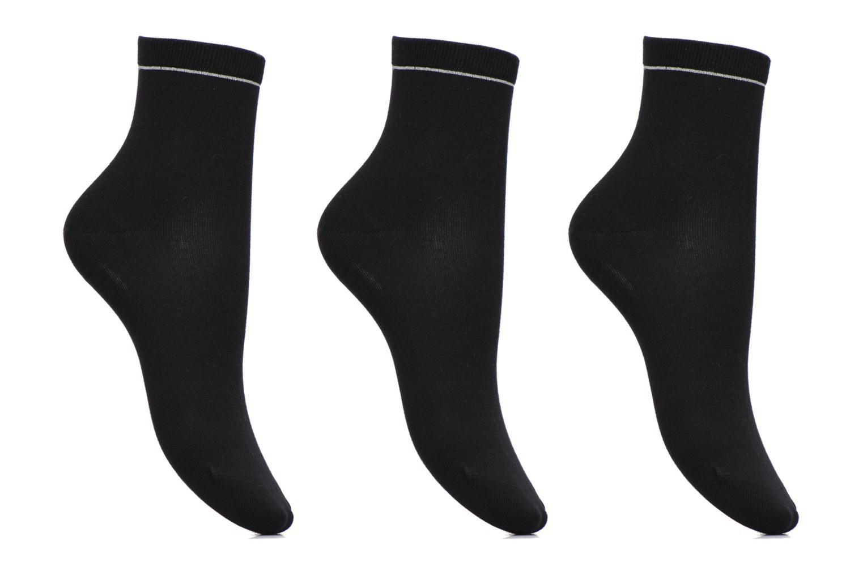 Chaussettes unies Pack de 3 femme coton Noir