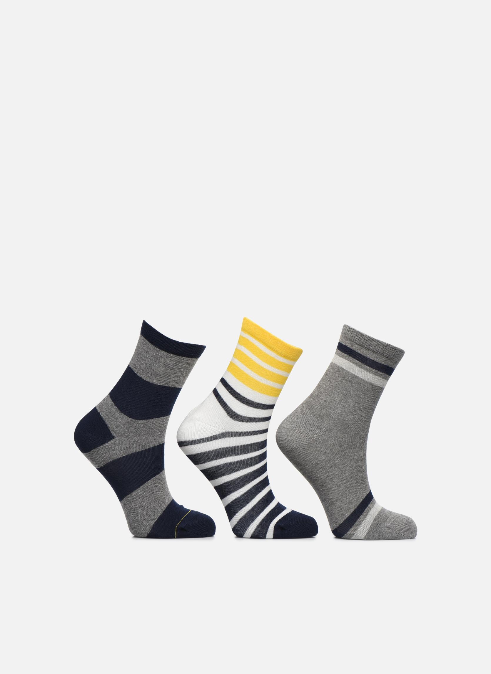 Chaussettes motif Pack de 3 enfant coton marine gris jauneC013