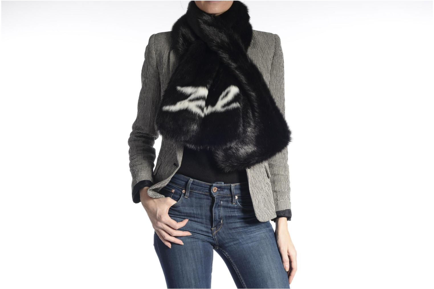 Miscellaneous Karl Lagerfeld Holiday Fur scarf Black view from above