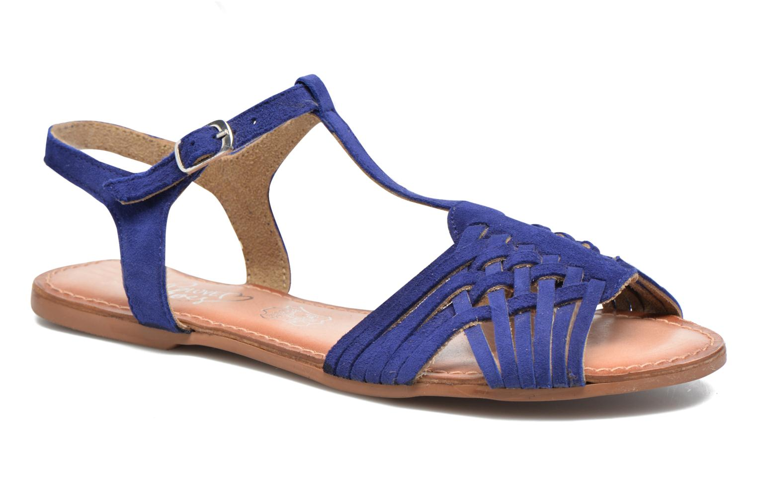 Sandals I Love Shoes KETRES Leather Blue detailed view/ Pair view