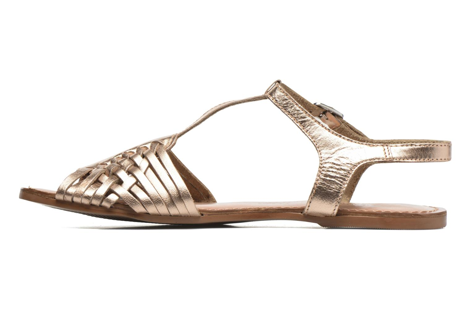 Sandals I Love Shoes KETRES Leather Bronze and Gold front view