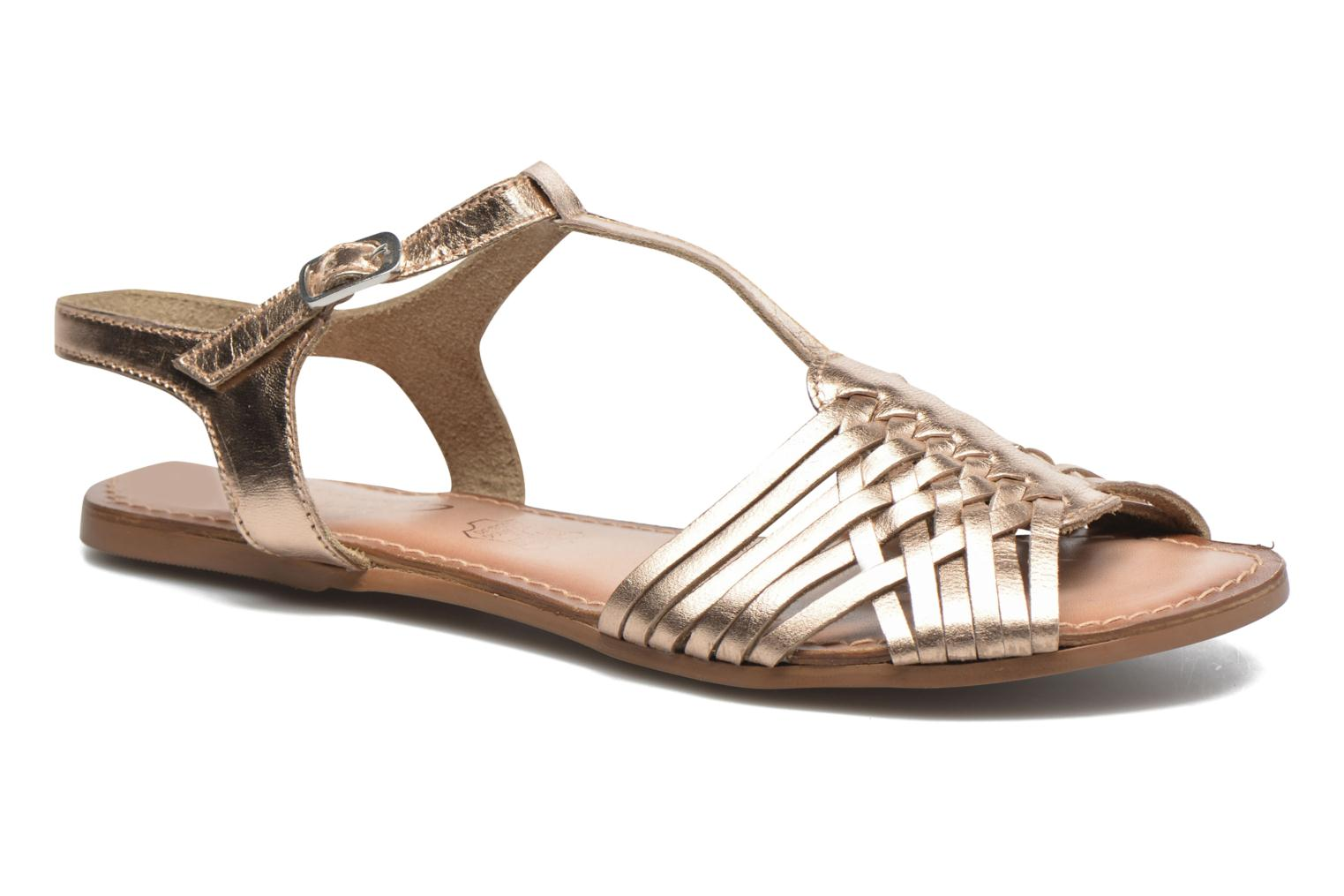 Sandals I Love Shoes KETRES Leather Bronze and Gold detailed view/ Pair view