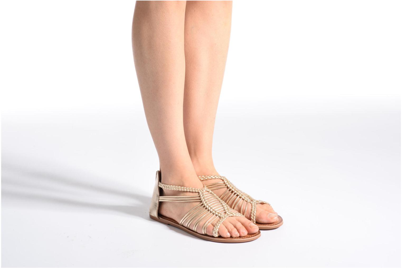 Sandals I Love Shoes KEMIA Leather Bronze and Gold view from underneath / model view
