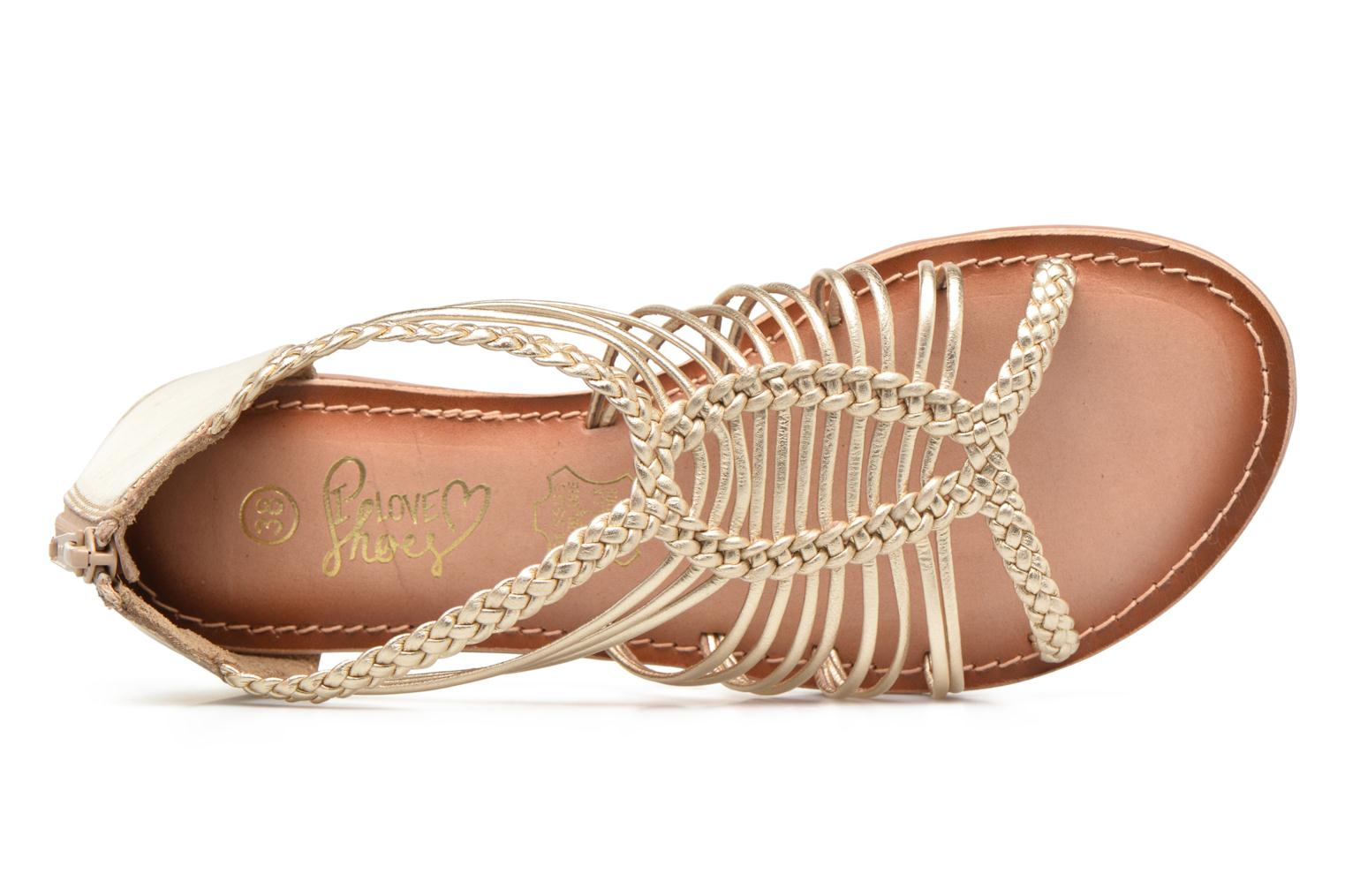 Sandals I Love Shoes KEMIA Leather Bronze and Gold view from the left