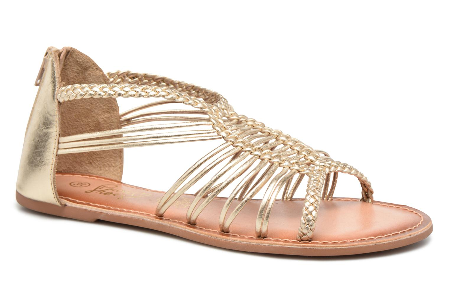 Sandals I Love Shoes KEMIA Leather Bronze and Gold detailed view/ Pair view