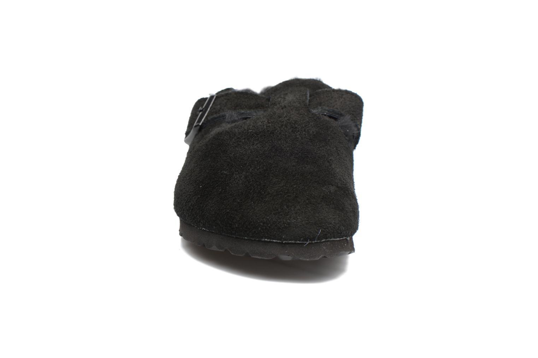Chaussons Birkenstock Boston Sheepskin W Noir vue portées chaussures