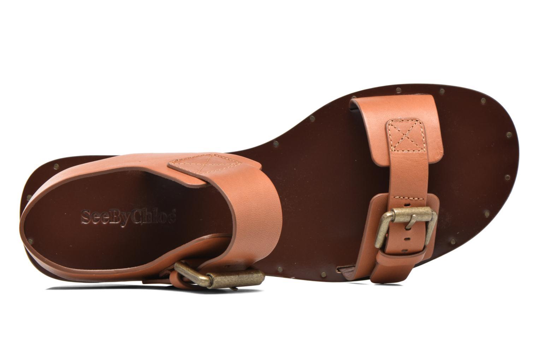 Sandales et nu-pieds See by Chloé Romy Flat Beige vue gauche