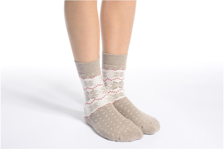 Chaussons-chaussettes Mixte Coton Anti-dérapants Noël 10476 BEIGE