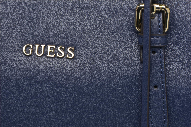 Bolsos de mano Guess Sissi Medium Satchel Azul vista lateral izquierda